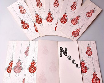 Vintage Christmas cards Swedish bird ornaments graphics 1950s pink red Noel 10