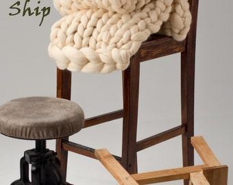 Birthday gift, Wedding gift, 18 microns Merino wool blanket, Chunky blanket