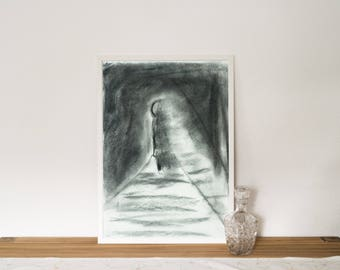 Original charcoal drawing, miniature