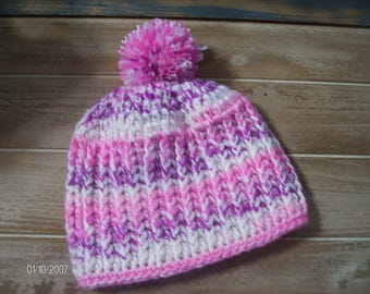 Crochet Baby Pink and Purple mixed textured ribbed Hat sized to fit 6 to 12 months