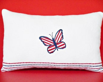 Patriotic Pillow Butterfly Red White Blue Accent Americana Primitive Decorative Repurposed