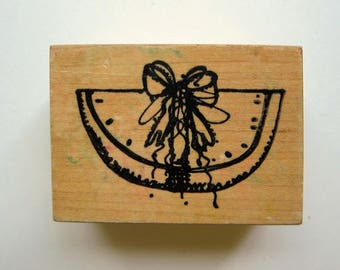 1pc WATERMELON SLICE Wood Rubber Stamp, Pre-used