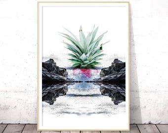 Abstract Art Print, Kitchen Decor, Digital Download, Seascape, Modern Minimalist, Contemporary, Printable Poster, Pineapple Print, Mint Gray