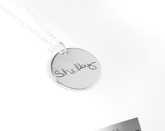 Actual handwriting necklace • loved ones or your own writing or artwork immortalized in sterling silver - Signature necklace - personalized
