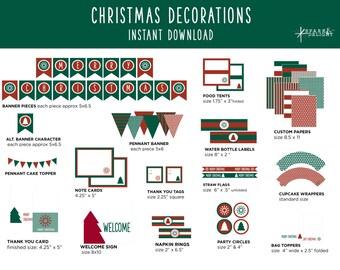 Christmas Printables - Christmas Decorations  - Printable Party Pack - Christmas Party Decorations - Red and Green