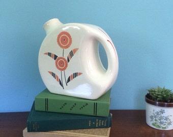 "Retro Mid Century Floral print Universal Cambridge Refridgerator Pitcher/ Vase, 7"""