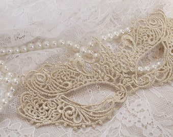 light gold lace mask applique for costume, crochet lace mask for costume party, Halloween mask