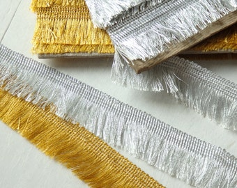 "Gold OR Silver fringed trim - TWO yards of tassel trim with fringe, 32mm / 1.25"" fringed trim, silver tassel trim, gold fringe trim - 2 yds."