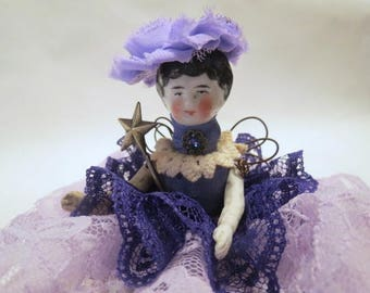 "Assemblage Angel ""Royal Purple""  Assemblage Art Doll, Antique Doll Parts, Vintage Style Art Doll"