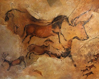 Large Oil Painting Canvas Cave Art Bull