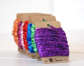 Tinsel Twine -  10 Yards - Metallic Tinsel Twine - Metallic Tinsel String - Colorful Tinsel Twine - On Sale - Final Sale
