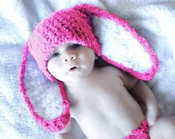 3 to 6m Pink Bunny Baby Hat, Bunny Hat, Hot Pink Bunny Costume Baby Beanie, Infant Bunny Prop,    Crochet Baby Gift, Crochet Baby Hat