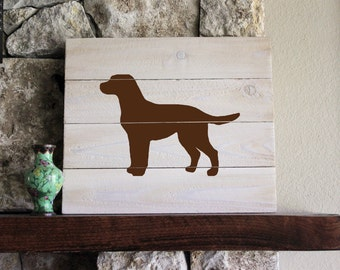 Chocolate Lab Silhouette, White-Washed, Distressed Wood Sign, Hand-painted, Wall Art, Gift, Hand-painted, Add Name, Labrador Retriever,