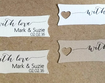 Small Wedding Favor Tag with heart accent, Personalized Gift Tags or Shower Favor Tags, Custom Labels, Custom Gift Card