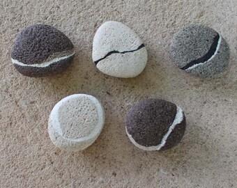 Set of five ceramic stone magnets, set five of artisan magnets for fridge colors earth, original fridge Magnets
