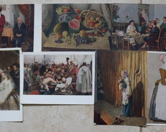 Postcards of USSR 1954-1955, rare postcards, picture postcards- 7 pcs. Soviet postcards, in Russian, vintage postcards, collectible #11