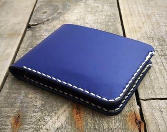 Personalised Kangaroo Leather Bifold Wallet, Blue Leather Wallet, Bifold Wallet, Billfold Wallet, Mens Leather Wallet, Mans Leather Wallet