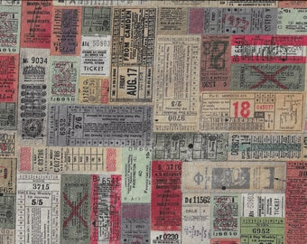 Travel Ticket Fabric - Quilting Cotton Fabric - Eclectic Elements Fabric - Tim Holtz Fabric