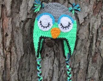 Baby Boy Owl Hat, Crochet Owl Hat, Newborn Owl Hat, Toddler Owl Hat, Child Owl Hat.Teen or Adult Owl Hat Photo Prop