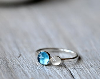 Sterling silver ring, stacking ring with 6mm sky blue topaz and 4mm white moonstone cabochon, MADE TO ORDER