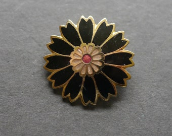 Small Cloisonne enamel black flower daisy brooch
