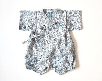 Baby Kimono, Jinbei, Romper for babies, INDIGO DAISY BLUE  bébé, hand block printed fabric from India, made in France