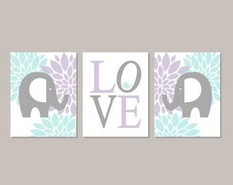 FLORAL Nursery Art, ELEPHANT Nursery Decor, Baby Girl Nursery Wall Art, Prints Or Canvas, Nursery Pictures, Lilac Nursery Art, Set of 3