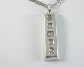 """1977 Silver Ingot on a 28"""" Silver Chain over 46 grams over 1 ounce!"""