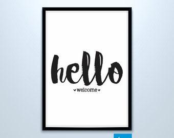 Hello Welcome - Wall Decor - Digital Print file