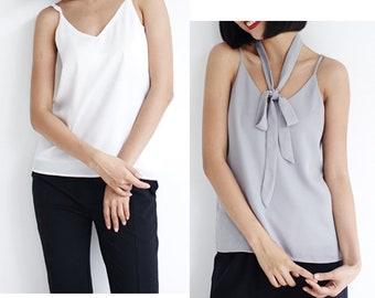 Classic Cami Top,Chiffon Slip Cami,Camisole Top,Basic Top V neckline Thin Tank Top Adjustable