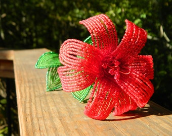 Shades of Red Lily Inspired French Beaded Flower