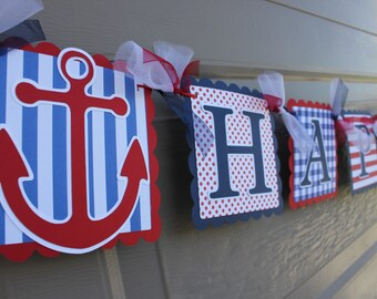 Nautical Themed Party - Anchor - Nautical Happy Birthday Banner - Nautical Boy Birthday  - Navy - Red - White