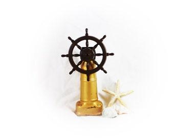 Vintage Ship Wheel Decanter Nautical Decanter Collectible Old Spice Container Coastal Home Decor