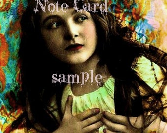 NOTE CARD Envelope included Digital Art 5.5 x 4 Suitable for FRAMING Mixed Media Altered Art Art Print Beautiful Victorian Gypsy Girl Boho