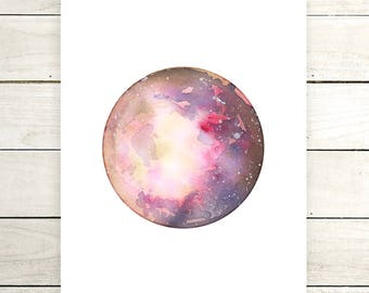"Planet Watercolor Painting. ""Aletheia"" Fine Art Print. Galaxy. Decor. Giclée"