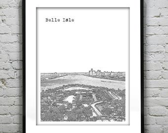 20% OFF Memorial Day Sale - Belle Isle & Detroit Skyline Poster Art City Print Detroit Michigan MI