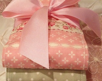 CHIC & ULTRA GIRLY Baby Girl Burp Cloth Set of 3 Boutique Style 6-ply Shabby Girly Pink Floral Polka Dot Shower Gift Christmas Monogrammabl