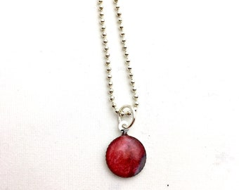 Red watercolor handmade pendant necklace, garnet, claret, ruby, dark red