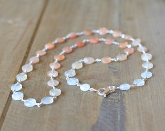 Peach and White Moonstone Necklace, Romantic Sterling Silver Wedding Jewelry. Ready to ship.