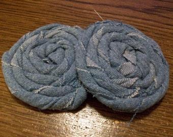 Set of 2 Denim Rolled Fabric Rosettes Fabric Flowers Headband Embellishment Hairclip