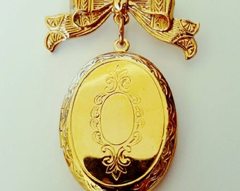 SALE | Vintage 1980s Gold Tone Hanging Locket from Bow Brooch