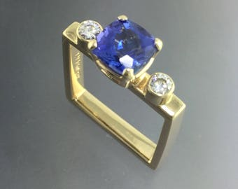 Tanzanite and Moissanite 14kt Yellow Gold Square ring, engagement ring, One of a kind, ready to ship, size 5.5