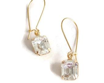 Gift Clear earrings Crystal earrings Emerald cut earrings Crystal bridal earrings Dangle earrings Bridal earrings Bridesmaid earrings Gift