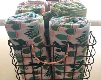 Flannel Baby Blanket Swaddler Cactus Succulent