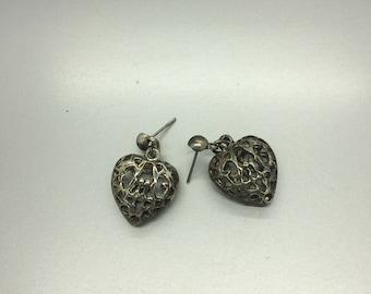 Silver Heart Pierced Earrings Fashion Jewelry