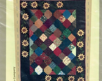 Sunflower Quilt Pattern - Flower Quilt Pattern - Courthouse Steps Pattern - Block Quilt Pattern - Flowers At The Courthouse - Border Creek
