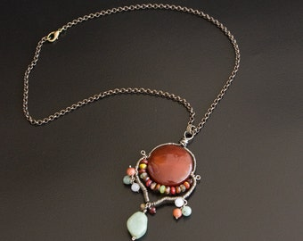 Bronze Chain Necklace, Wire Wrapped Pendant with Carnelian and Jade Gemstones and Glass Beads. Fringe Dangle Pendant, BOHO Necklace  S111