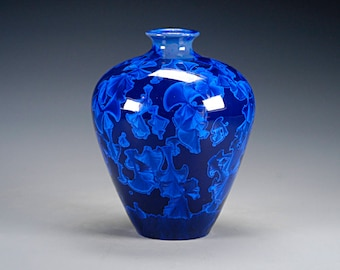 Ceramic Vase -Dark Blue - Crystalline Glaze on High-Fired Porcelain - Hand Made Pottery - FREE SHIPPING - #B-5534