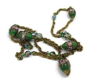 Venetian Wedding Cake Bead Necklace Green Oval Beads Pink Roses 36 Inches Long Designer Estate Vintage Costume Jewelry Victorian