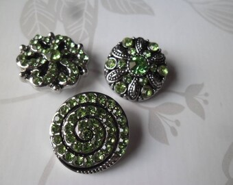 x 3 mixed snaps (jewelry) round green rhinestone encrusted patterned silver metal 20 mm